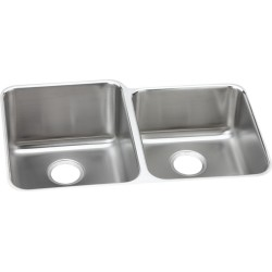Elkay ELUH3120R Gourmet (Lustertone) Stainless Steel Double Bowl Undermount Sink