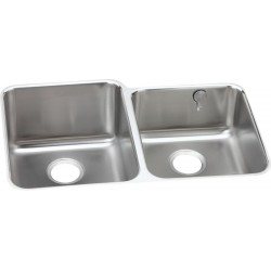 Elkay ELUH3120REK Gourmet (Lustertone) Stainless Steel Double Bowl Undermount Sink Kit
