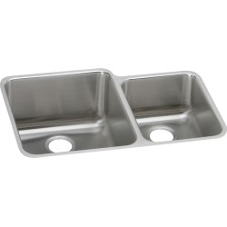 Elkay ELUH3121R Gourmet (Lustertone) Stainless Steel Double Bowl Undermount Sink