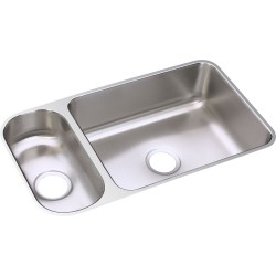 Elkay ELUH3219DBG Gourmet (Lustertone) Stainless Steel Double Bowl Undermount Sink Kit