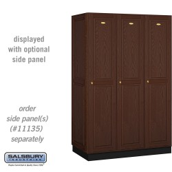 Salsbury Solid Oak Executive Wood Locker - Single Tier - 3 Wide - 6 Feet High