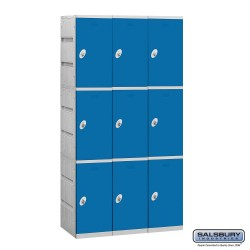 Salsbury Plastic Locker - Triple Tier - 3 Wide - 73 Inches High - 18 Inches Deep