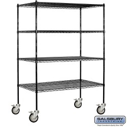 Salsbury Tall Wire Cart Mobile Shelving - 60 Inches Wide - 24 Inches Deep
