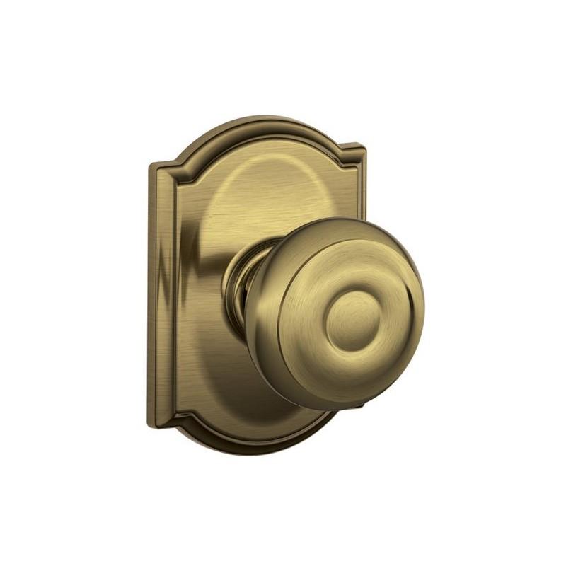 schlage georgian door knob with camelot decorative rose. Black Bedroom Furniture Sets. Home Design Ideas